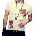 New Design Men's T-Shirt 2017 Summer Fashion Flower Embroidery T Shirt Men Casual Slim Fit Cotton T Shirts White Black Plus Size