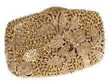 2016 heißer Verkauf Neue Design Deluxe Ovale Form Damen Abendgesellschaft Clutches Volle Kristalle Metall Frauen-geldbeutel Vergoldet