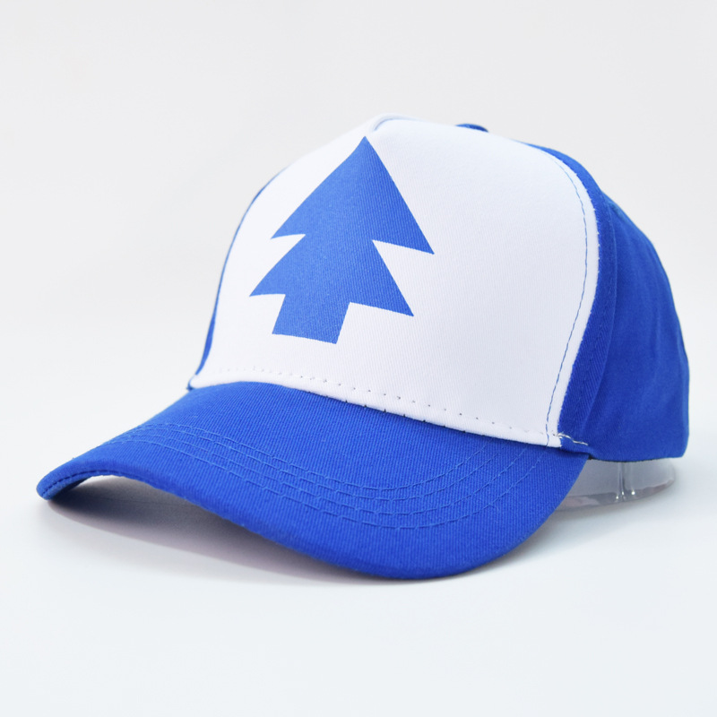 2017 Fashion Gravity Falls Baseball Cap BLUE PINE TREE Hat Cartoon Trucker Snapback Cap New Curved Bill Dipper Adult Men Dad Hat