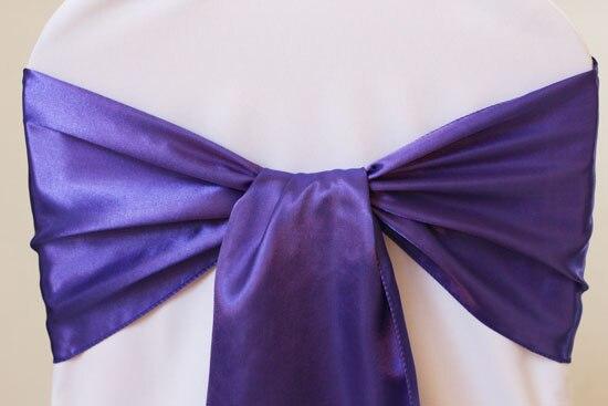 100pcs #118 Dark Purple Satin Chair Sash For Weddings Events &Party Decoration