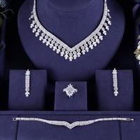 ACCKING Nigeria Bridal Zirconia For Women Party Luxury Dubai Necklace Earringa Rings CZ Crystal Wedding Jewelry Sets