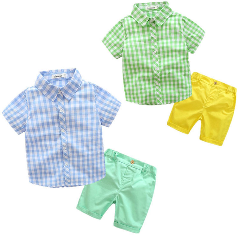 Cotton Plaid Clothing Set Child Boy Summer Fashion Outerwear Sport Clothes Suit Blouse+Pant Children's Kids Cloth High Quality цены