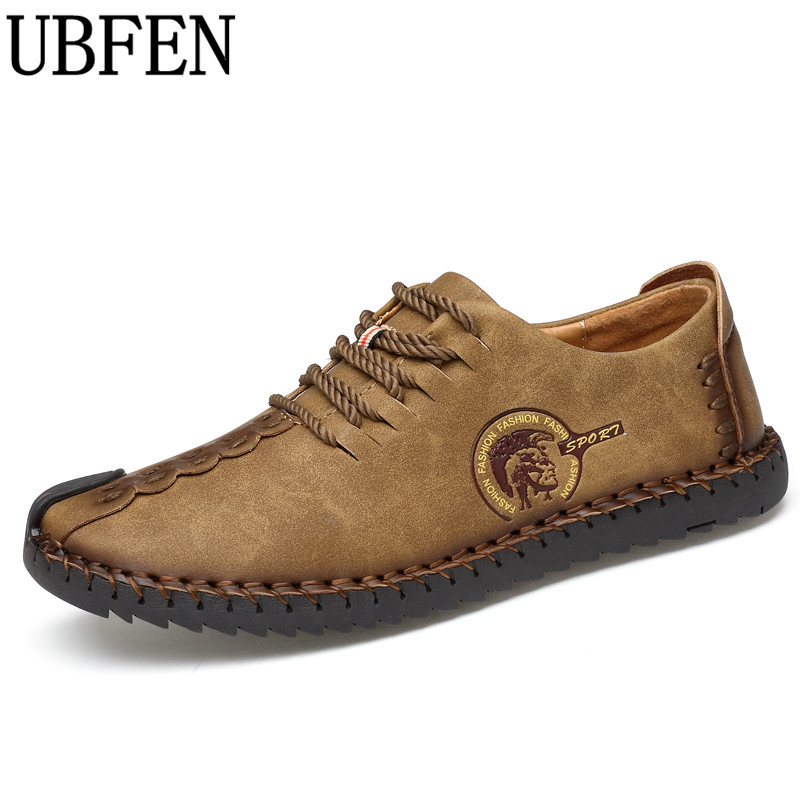 UBFEN 2017 Brand Fashion Comfortable Men font b Shoes b font Lace up Solid Leather font