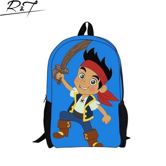 Trendy 16inch Small Children School Bags Cartoon Teenager SchooBag Boys  Jake And The Neverland Pirates Prints a2b9ec546d