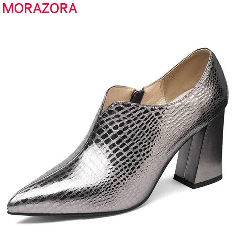 MORAZORA 2018 nouveauté femmes pompes carré talons hauts chaussures femme bout pointu zipper véritable cuir mode chaussures de fête