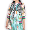 2016 Autumn Runway Luxury Brand Designer Satin Bomber Jacket Women Basic Coats Bee Butterfly Embroidery Baseball Jackets Outwear