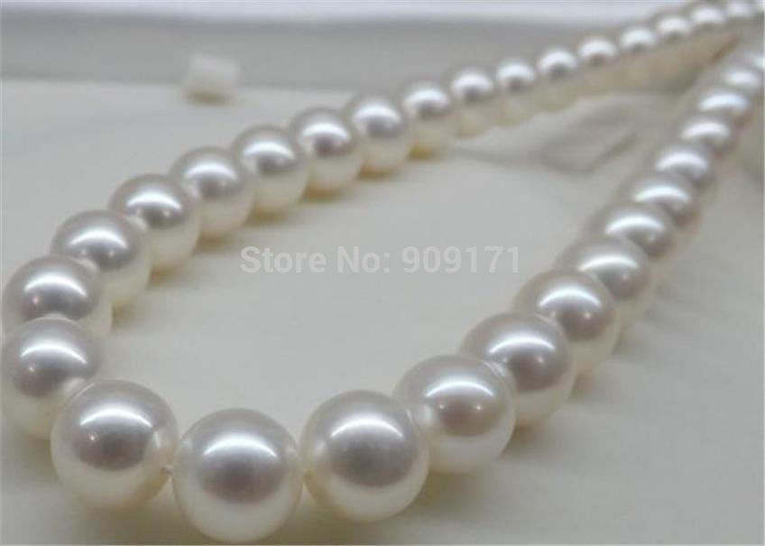 FREE SHIPPING>@@> &>>11-12mm White Sea Pearl Necklace 18 AAA 100% Real Hand knotted