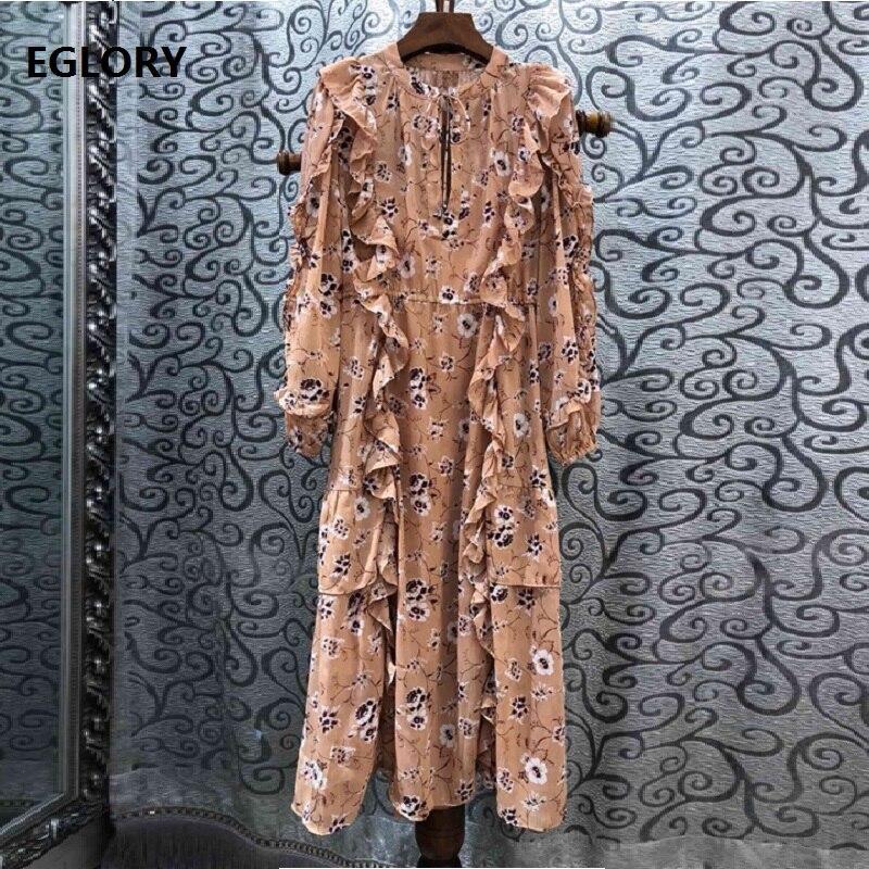 Bohème robe 2019 été mode plage Style femmes Chic imprimer volants à manches longues mi-mollet Vintage Boho robe décontracté dames