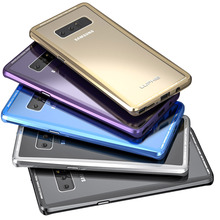 sFor Samsung Galaxy Note 8 Case Luphie Luxury Metal Bumper + Tempered Glass Back Cover Case For Samsung Galaxy Note 8 Note8 Capa