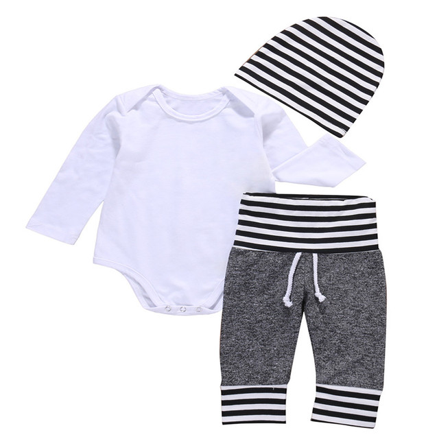 3 Pcs Newborn Toddler Kids Baby Boys Outfit Clothes Solid White Bodysuit Onesie+ Pants+Hat  Set Clothing