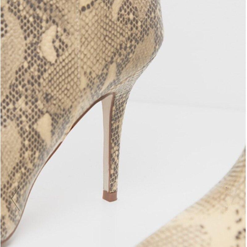 Printemps Cuir En Slip Picture Imprime Hauts As Chaussures Chaussons Pointu Bottes mollet Mode Talons Stilettos 2019 Serpent Mi sur Bout Femme Court Pour Femmes r0qf8Zrx