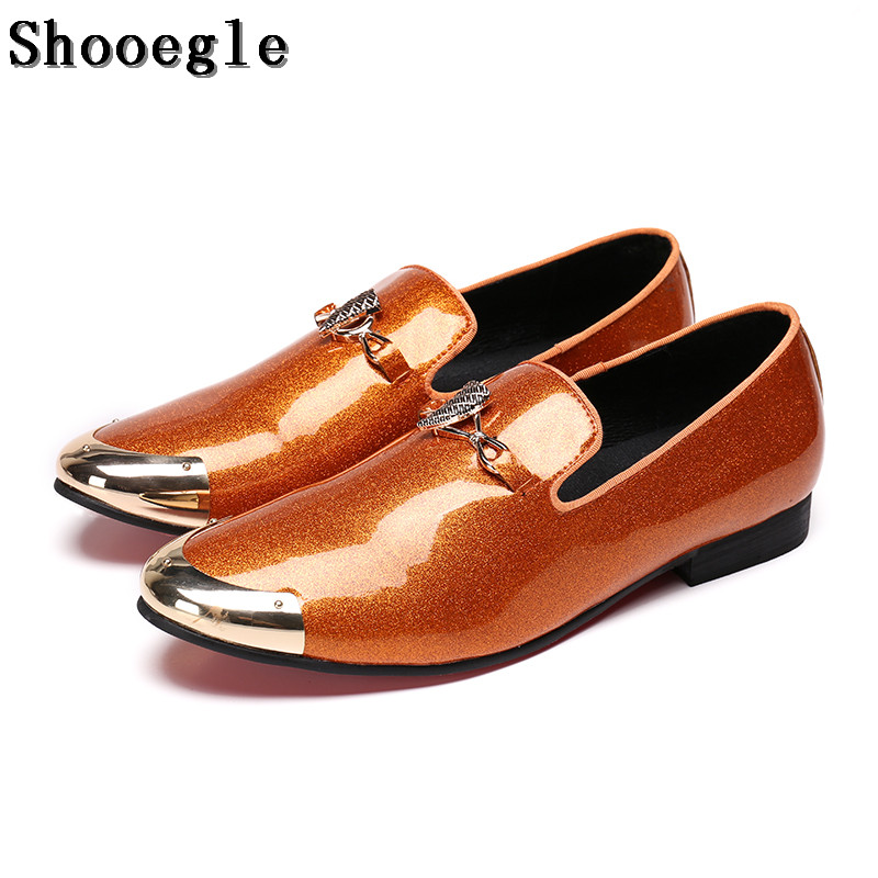 SHOOEGLE Fashion Design Bright Face Buckle and Metal Toe Men Patent Leather Shoes Men Casual Flats Party Wedding Loafers Man ovxuan metal skull buckle handmade men ankle shoes punk party dress loafers glitter bright sequins men flats casual rivets shoes