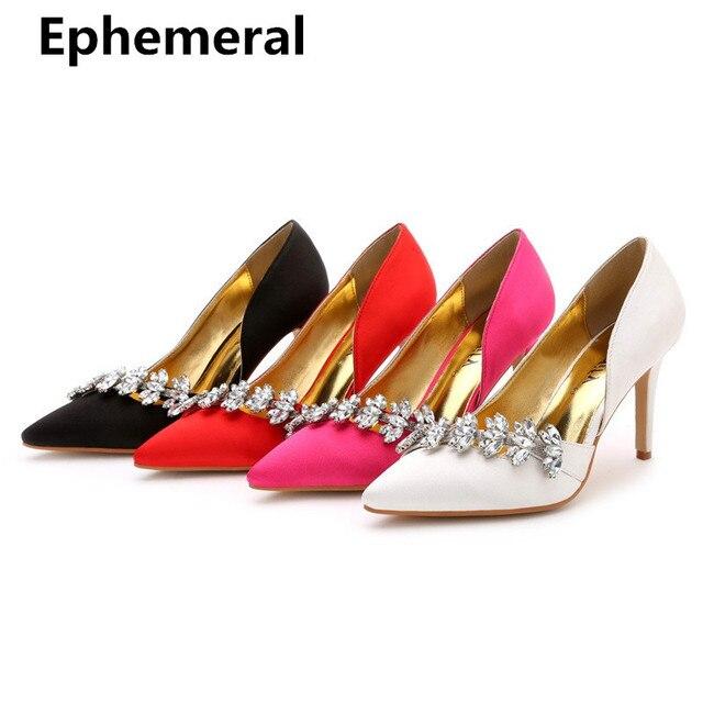 ae244070d813 Women Luxury Crystal Wedding Shoes silk Super High Heel Pumps Nigh Club  Stilettos Mujer Red Black White Plus Size 34-12 Fashion