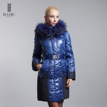 BASIC-EDITIONS Winter Blue Fox Fur Collar Slim Fit Jacket Woven Long Sleeve White Duck Down S-XXXL 11WY-33