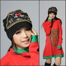Новые женские шляпы банданы дизайн Вышивка Цветы винтажные кепки Этническая шляпа