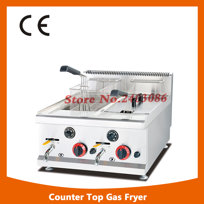 Commercial Counter Top Gas Deep Fryer (2 - tank & 2 - basket) 8L/Tank with Safety Device salter air fryer home high capacity multifunction no smoke chicken wings fries machine intelligent electric fryer
