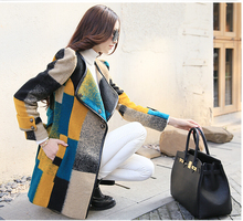 2016 Europe style latest women elegant round neck long sleeve winter Woolen cloth coat grid printed cloth warm loose coat D-0937