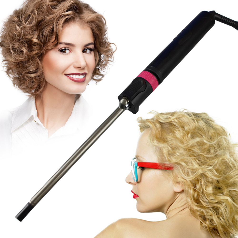 9mm Unisex Curly Hair Wand Professional Ceramic Barrel Small Slim Tongs Hair Curler Roller Crimper Styling curling iron Wand