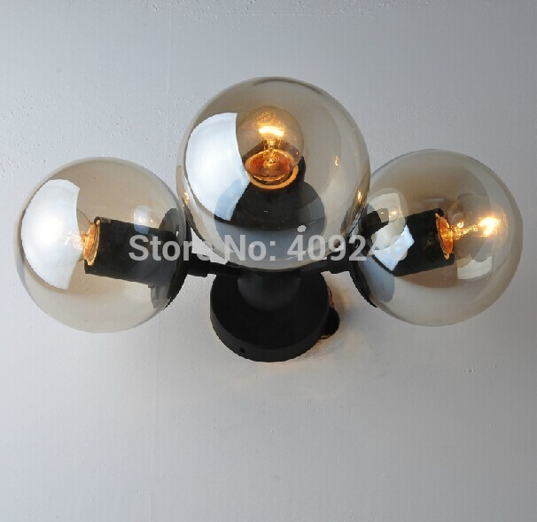 Edison 3-Lights Glass Ball LOFT Industrial Retro Bedroom Mirror Wall Lamp Lighting E27 Cafe Bar Coffee Shop Hall edison inustrial loft vintage amber glass basin pendant lights lamp for cafe bar hall bedroom club dining room droplight decor
