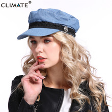 CLIMATE New Women Fashion Cap Hat Denim Navy Army Sailor Caps Hat Woman Cool Anchor Military Marine Hat Caps for Woman Man military hats white captain sailor hat navy marine caps with anchor army hats for women men child fancy cosplay hat accessories