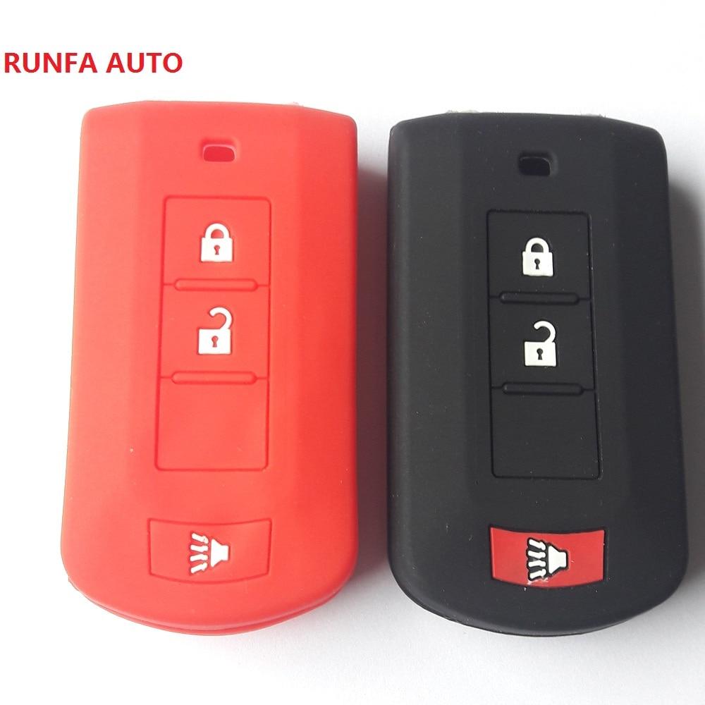 RUNFA AUTO Skin Holder For Mitsubishi Lancer EX ASX Outlander Pajero 2+Panic Button Remote FOB Shell Silicon Silikon Key Cover