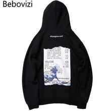 Bebovizi Streetwear Japan Style Sweatshirts Wave Print Hip Hop Hoodies Japanese Tops Men Casual Pullover Hooded