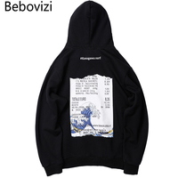 Bebovizi Streetwear Japan Style Sweatshirts Wave Print Hip Hop Hoodies Japanese Tops Men Casual Pullover Hooded
