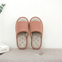 b5f15e08cd Women Home Slippers Striped Cotton Bedroom Shoes Wooden Floor Shoes Spring  Autumn Non Slip Indoor Linen