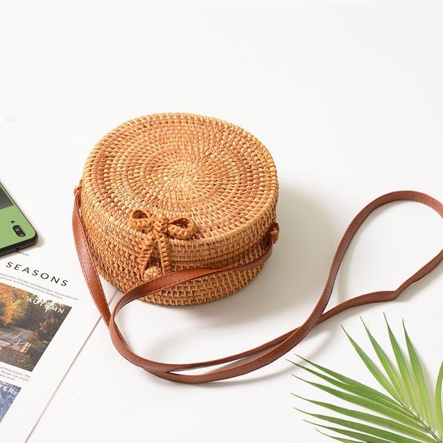 FEMALEE Circular Casual Rattan Bag 2019 Ins Summer Purse Handmade Bali Beach Shoulder Bow Bags Woven Bohemian Handbag Sac A Main 1