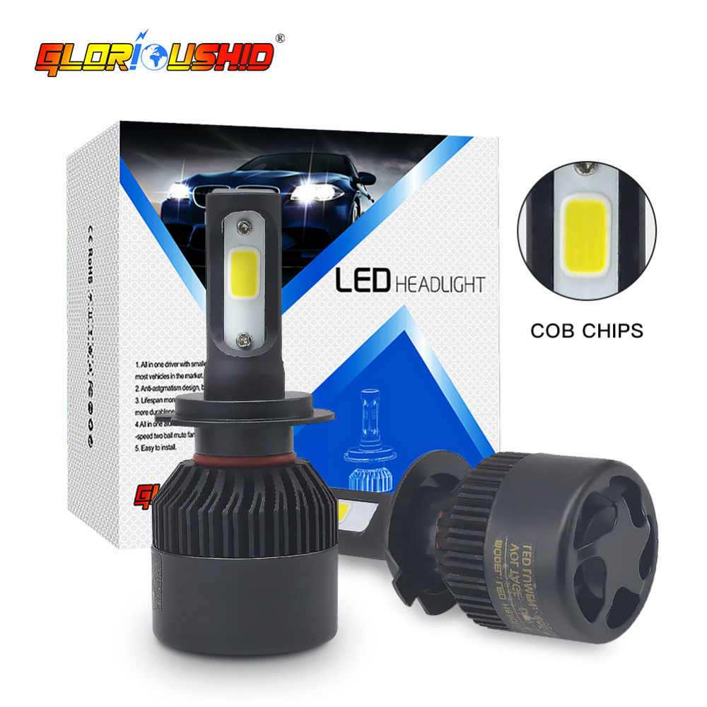 One Pair H4 LED H7 H1 H11 H8 H9 9005 HB3 9006 HB4 LED Car Headlight 72W 8000LM Auto Car Light Bulb Fog Lamp 6500K 12V 24V