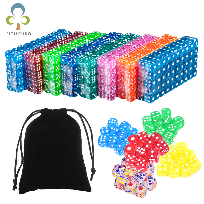 25Pcs Portable Table Games Dice 14MM Acrylic Round Corner Board Game Dice Party Gambling Game Cubes Digital Dices with Bag GYH(China)