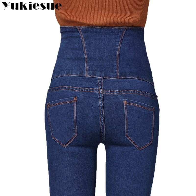 YUKIESUE 2018 new style buckle waist   jeans   large size high waist women's embroidery feet pencil   jeans   women S-6XL plus size