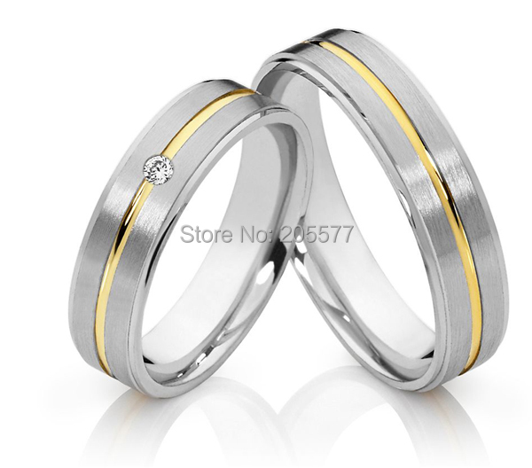 Classic Gold Plating Inlay Cheap Western Style Wedding Rings Sets Jewelry  For Men And Women Anillos