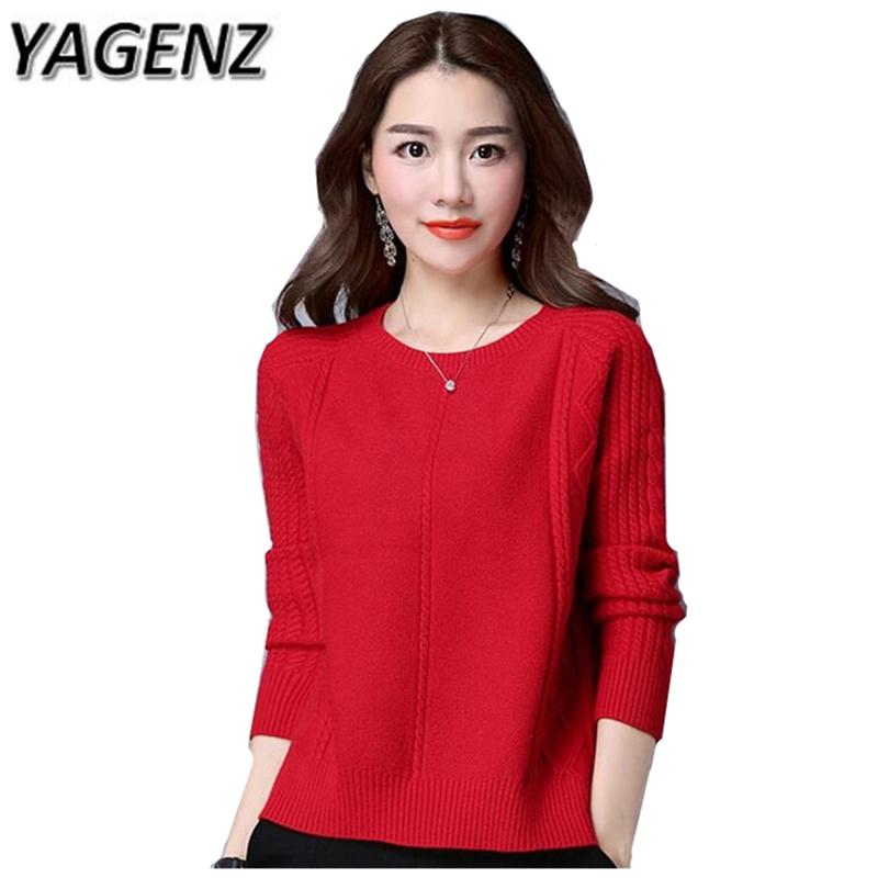 Autumn/Winter Knit Women Sweater Loose Long Sleeves Pullover Casual Tops Plue Size Solid ...