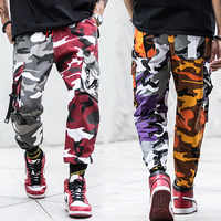 Fashion Streetwear Camouflage Jogger Pants Men Loose Fit Ankle Banded Punk Style Hip Hop Pants Multi Pocket Military Cargo Pants