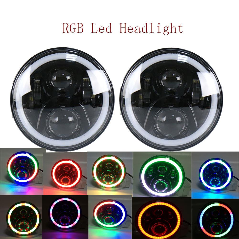 2018 2 PCS Rodada 7 Inch Auto LED Piscando Cor RGB Farol 50 w Hi/Lo feixe de 12/24 v sem APP Remoto para Wrangler19 RGB iluminação