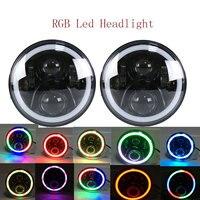 2018 2PCS Round 7Inch Auto LED Flashing RGB Color Headlight 50w Hi/Lo beam 12/24v without APP Remote for Wrangler19 RGB Lighting
