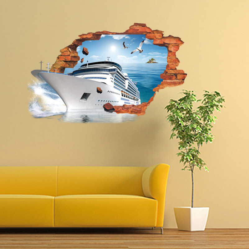 Keythemelife 1pcs 3D Side Boat Broken Wall decorations Wall Stickers ...