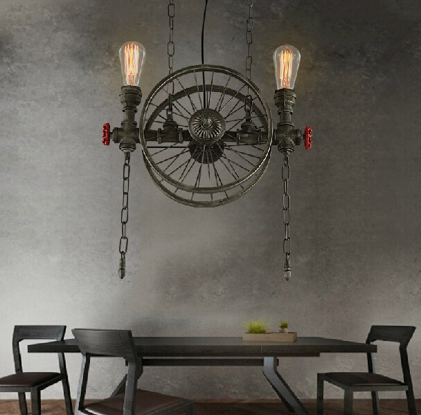 Loft Style Wheel Water Pipe Lamp Edison Pendant Light Fixtures Vintage Industrial Lighting For Dining Room Droplight Lamparas american loft style water pipe lamp retro edison pendant light fixtures for dining room hanging vintage industrial lighting