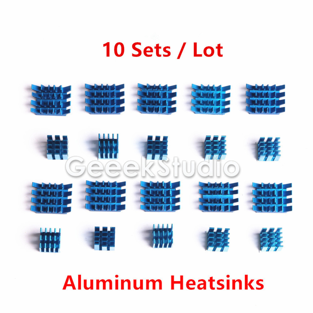 10 Sets! Raspberry Pi Heatsinks Cooler Aluminum With Adhesive Heat Sink Set Kit For Cooling Raspberry Pi 2 / 3 Model B