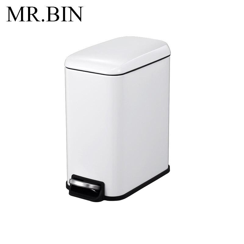MR. BIN 5L Нержавеющая Сталь Шаг Мусорный бак педаль мусорное ведро с PP внутренний бак мусорное ведро современный простой мусорное ведро для дома - Цвет: White