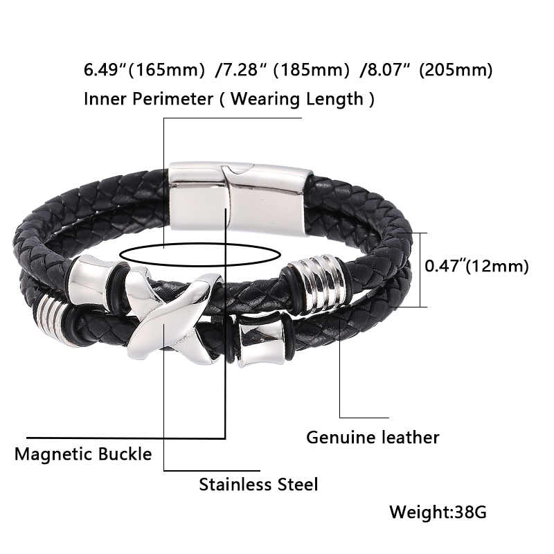 New Genuine Leather Bracelet Men Homme Double Layer Silver Magnet Buckle fashion Male Bracelets Jewelry Gifts BB0337 in Charm Bracelets from Jewelry Accessories
