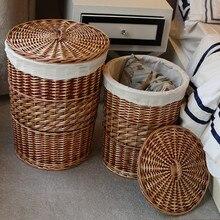 Home Storage Organization Handmade Woven Wicker cattail Laundry Hamper Baskets with Lid decorative wicker baskets cesta