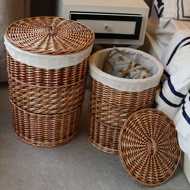 Home Storage Organization Handmade Woven Wicker Cattail Laundry Hamper Baskets With Lid Decorative