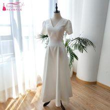 53a4a161af Kraj Stylu Korei Linia V Neck Suknie Ślubne Krótkie Rękawy Otwórz Wróć Tea  Długość Suknia Dla
