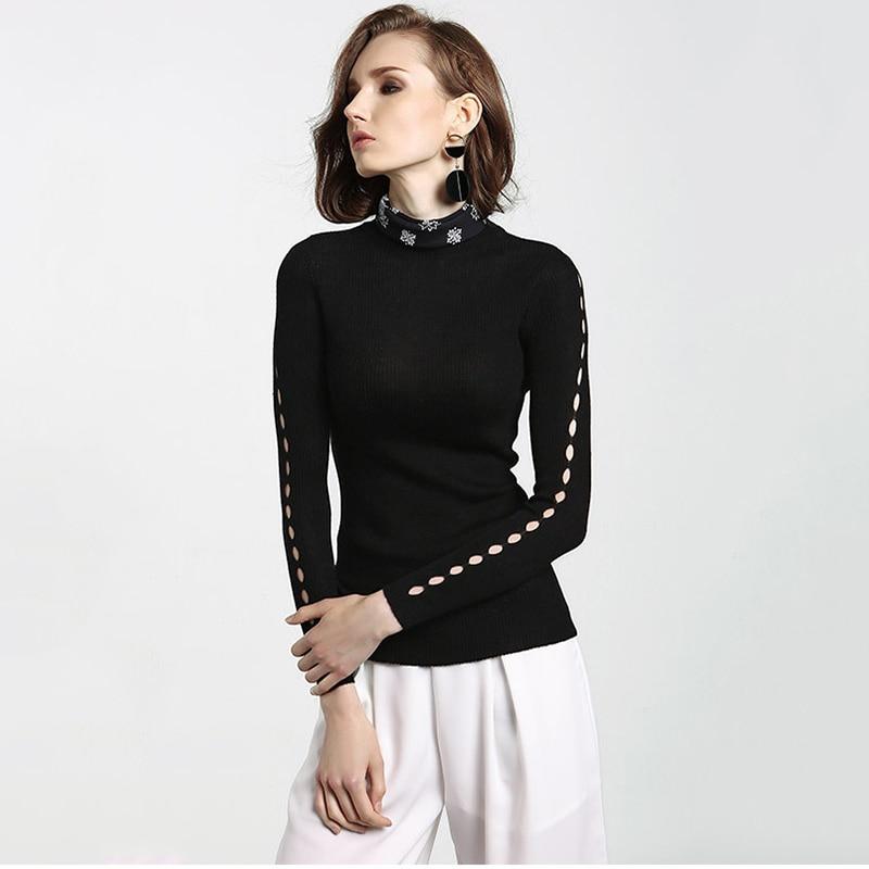 Estilo europeo jersey de lana suéter de las mujeres de calidad de la moda ahueca