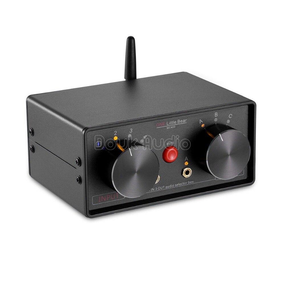 2018 petit ours dernier 4-en-3-OUT 3.5mm RCA Audio sélecteur boîte Bluetooth 4.0 récepteur séparateur préampli pour Audio maison