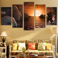 5 Pcs/Set Framed HD Printed Exoplanet Sunrise Landscape Picture Wall Art Canvas Print Poster Artwork Modern Canvas Oil Painting