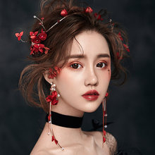 Женская свадебная повязка на голову с красными цветами