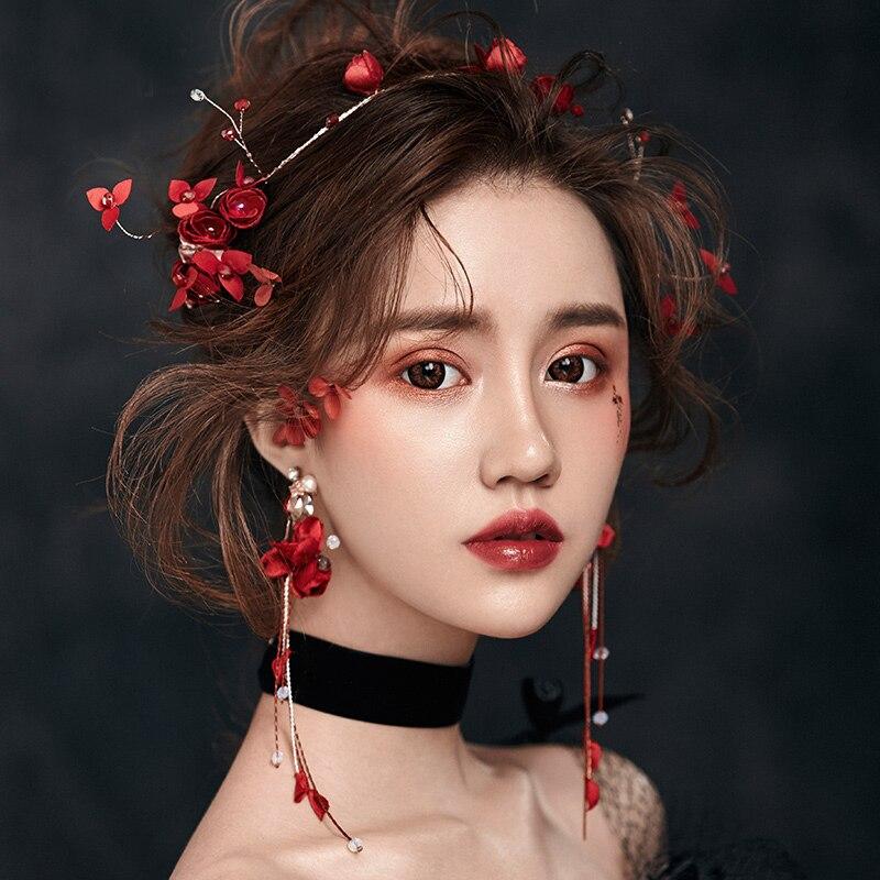 ROSE LIFE Piros díszes virágok házasok kristály fejpánt fül - Divatékszer